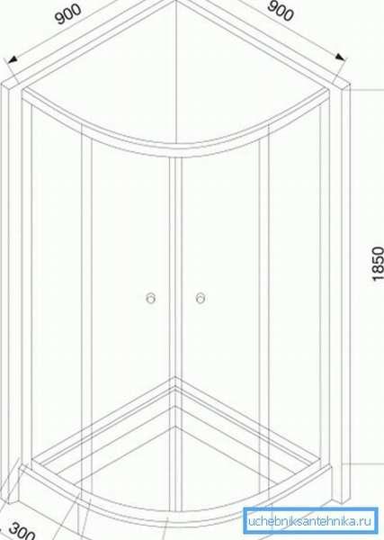 На фото показан чертеж и основные размеры открытой кабинки.
