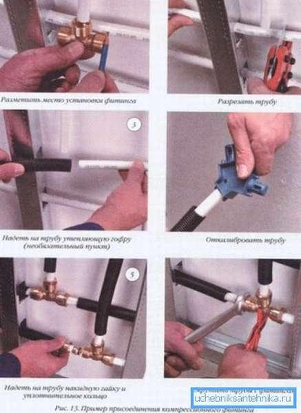 На фото показан порядок монтажа водопровода на примере соединения компрессионным фитингом.