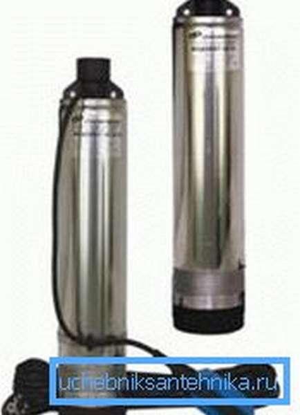 На фото показан внешний вид современных глубинных насосов центробежного типа.