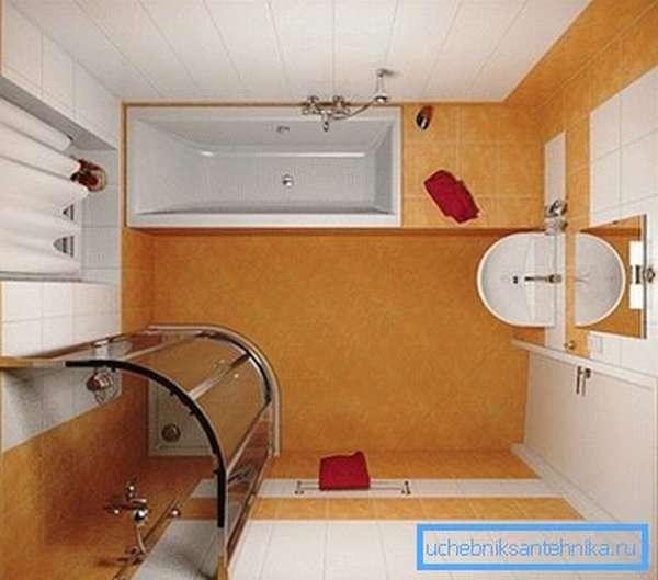 На фото показана классическая компоновка для небольшого помещения.
