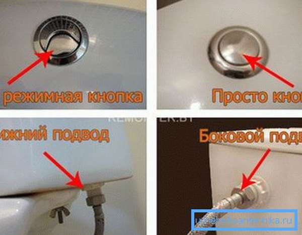 На фото показаны отличительные особенности двухрежимной и однорежимной кнопки смыва, а также нижней и верхней подводки воды.