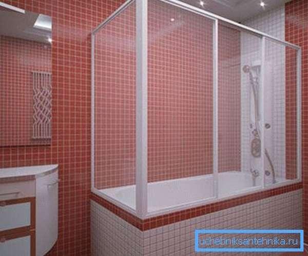 На фото представлена ванная с перегородкой для душа по периметру.