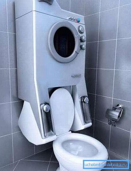 На фото – пример экстремального размещения стиральной машины