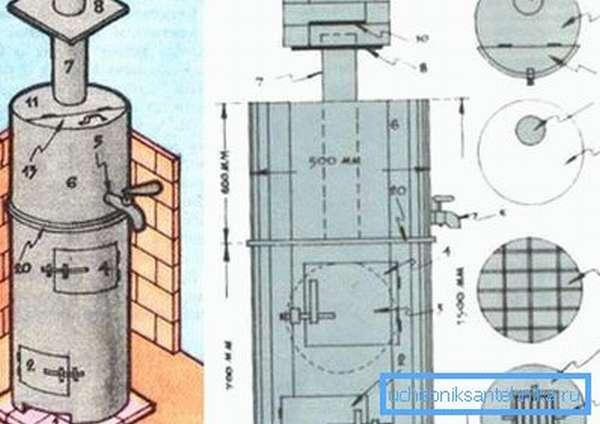 На фото – пример того, как изготовить самостоятельно печь с нагревательным баком из трубы