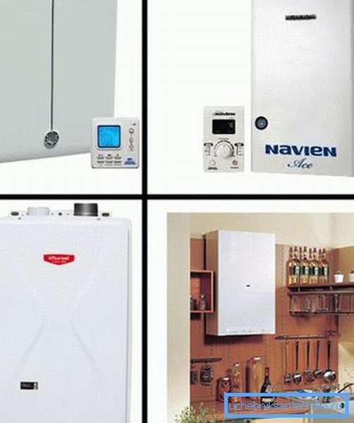 На фото – различные виды корейских настенных газовых котлов для обогрева помещений