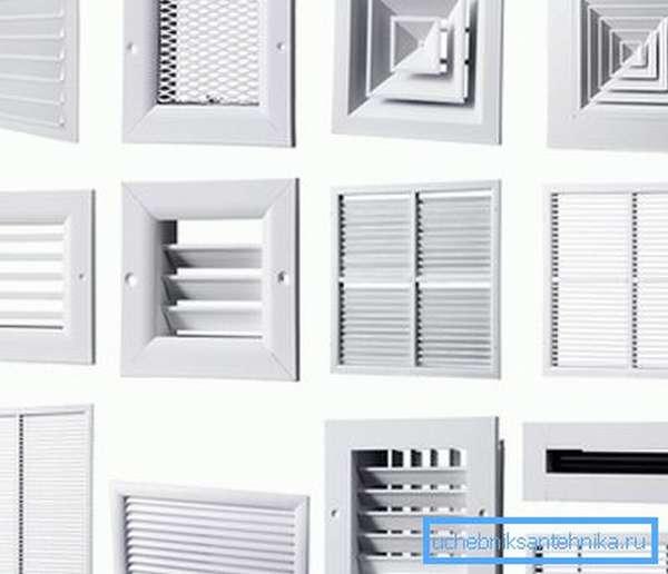 На фото – различные виды вентиляционных решеток