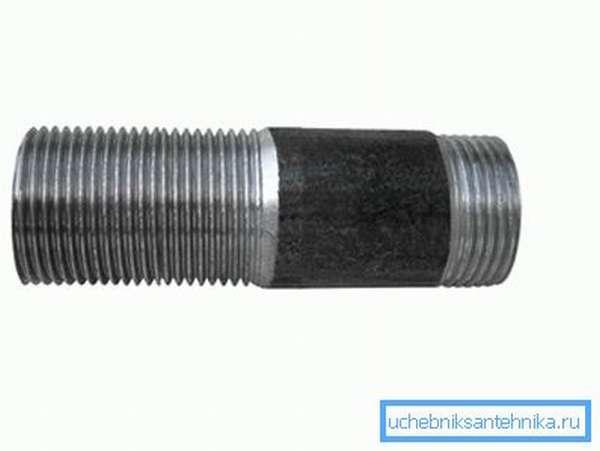 На фото – стальной сгон, его трубная резьба 3 4 дюйма в мм по наружному O26,6 мм