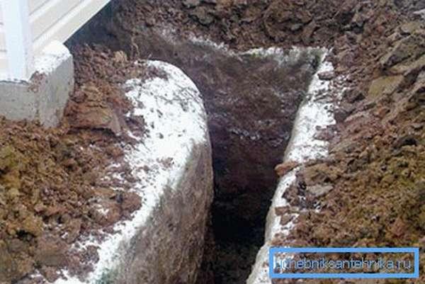 На фото - траншея для подвода в дом водопроводной трубы