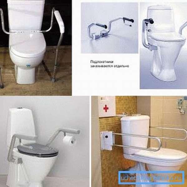 На фото – варианты унитазов для инвалидов