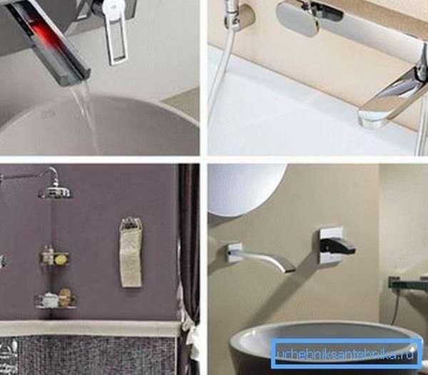 На фото – варианты встроенных смесителей для умывальников, душа и ванны