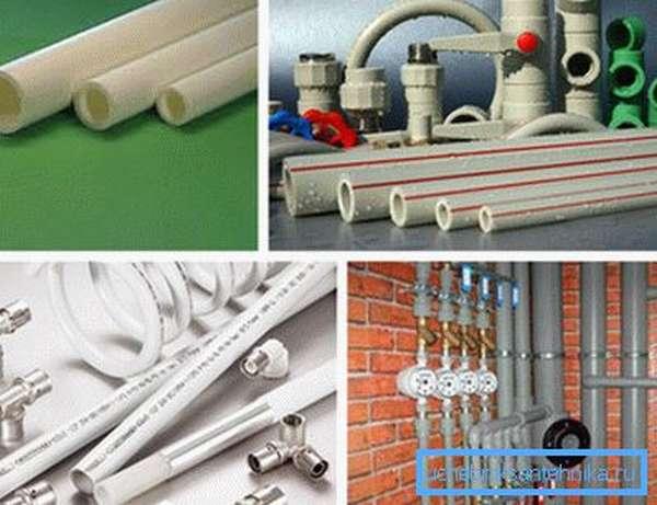 На фото – виды полимерных изделий для отопительных систем