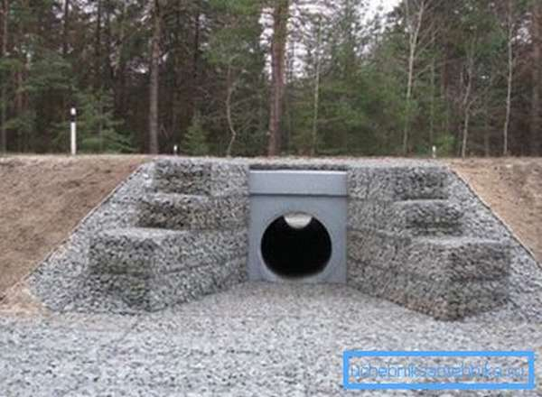 На фото - водопропускные изделия из бетона под дорожным полотном