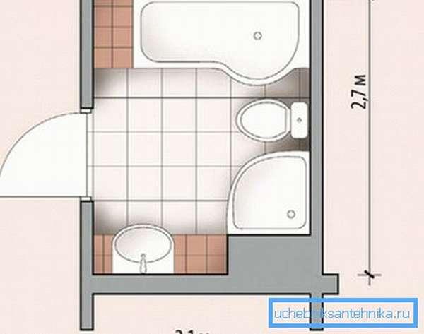На небольшой площади без проблем разместилась и душевая и ванна