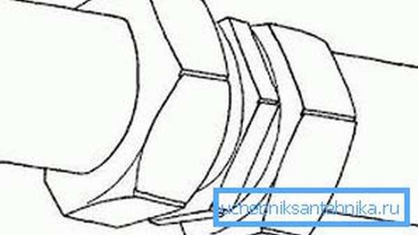 На рисунке резьбовое соединение труб отопления, выполненное посредством муфты