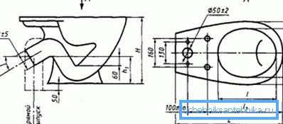 На схеме – основные размеры сантехнического прибора