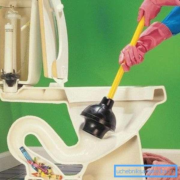 На схеме – принцип прочистки канализации вантузом