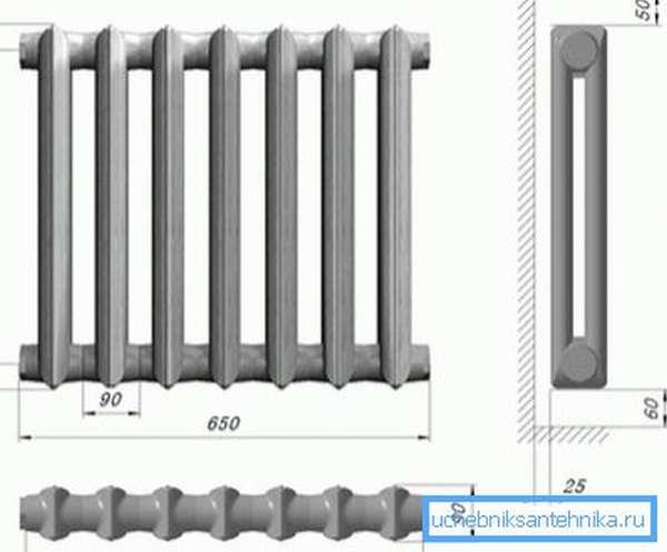 На схеме радиатор чугунный МС 90