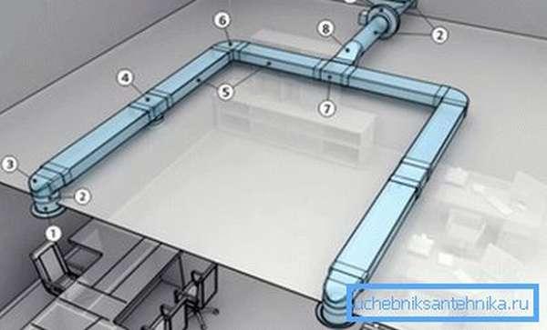 На схеме видно место установки тройника (7-я позиция)