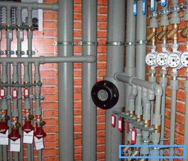 Наглядный пример, показывающий использованием материалов различного диаметра на определенных участках водопроводной системы