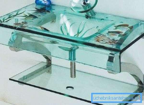 Настенная модель стеклянного умывальника
