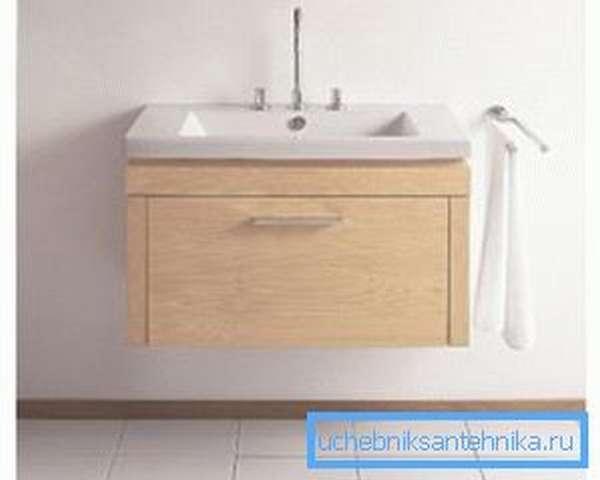 Навесные тумбы с раковиной для ванной комнаты должны крепиться в надёжную стену из бетона