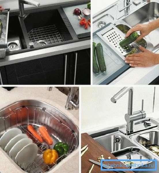 Некоторые гаджеты позволяют производить целый ряд дополнительных работ, которые связаны как с мытьем посуды, так и приготовлением пищи