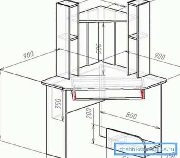 Некоторые проекты могут предполагать размещение не только нижних, но и верхних секций, что превращает обыкновенную тумбу в полноценное трюмо