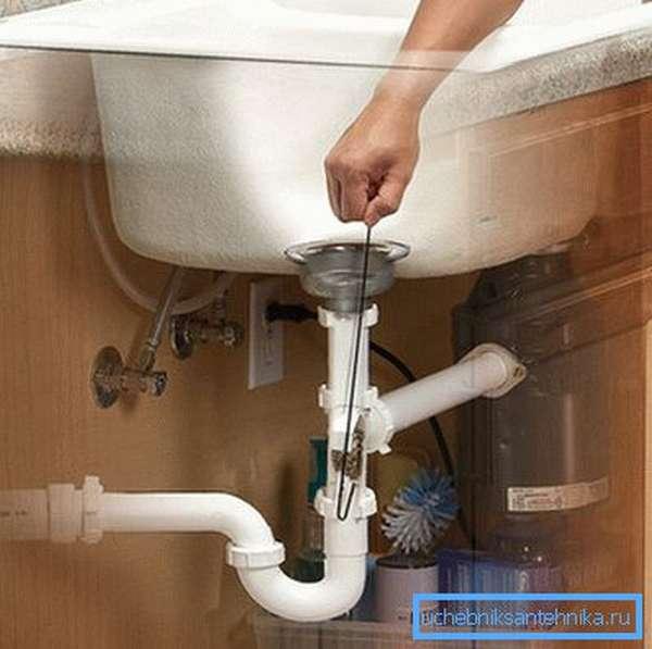 Некоторые типы пробок легко устранить с помощью обычного проволочного крючка, которым пытаются подцепить затор