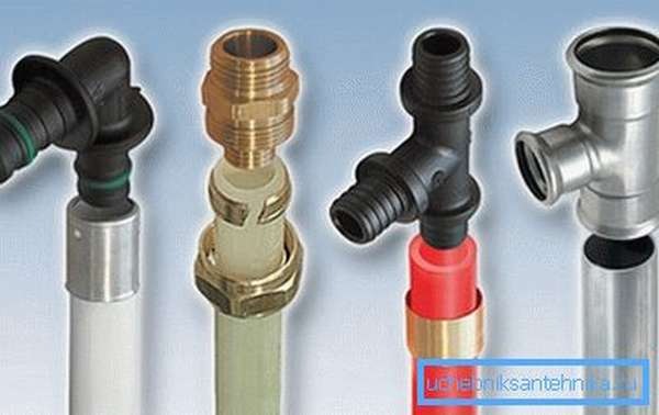 Некоторые виды применяющихся при монтаже сантехоборудования труб и фитингов.