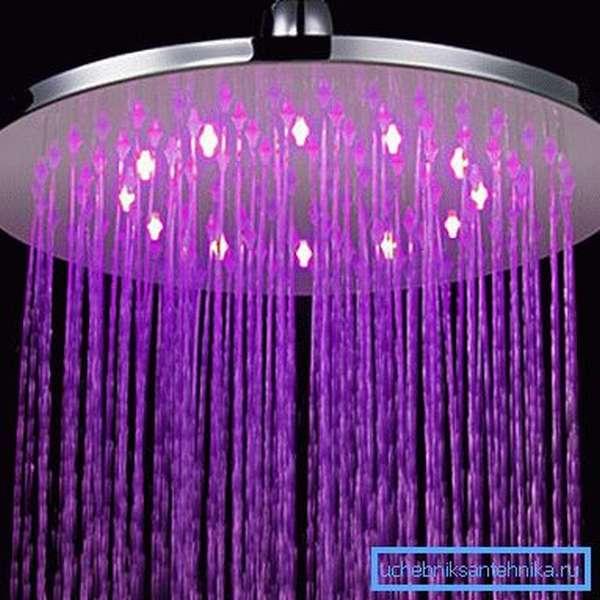 Необыкновенно красивый верхний душ со встроенной подсветкой для вашей ванной комнаты