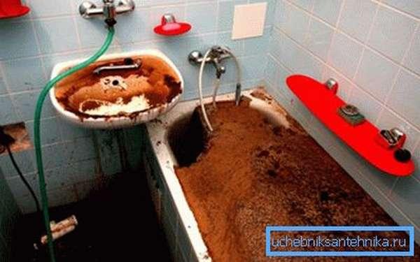 Неприятные последствия полной закупорки системы канализации.