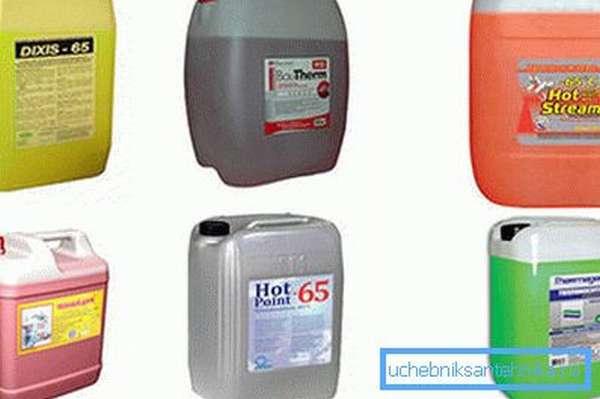 Незамерзающие теплоносители для систем отопления различных производителей.
