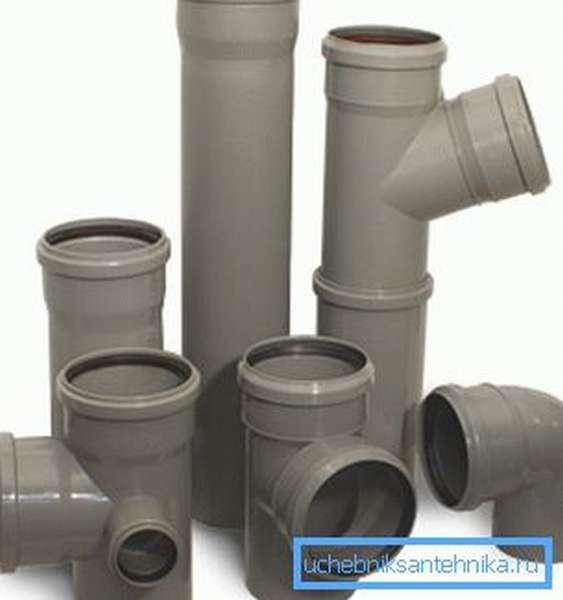 Образцы полимерных труб, тройников переходников и других необходимых элементов