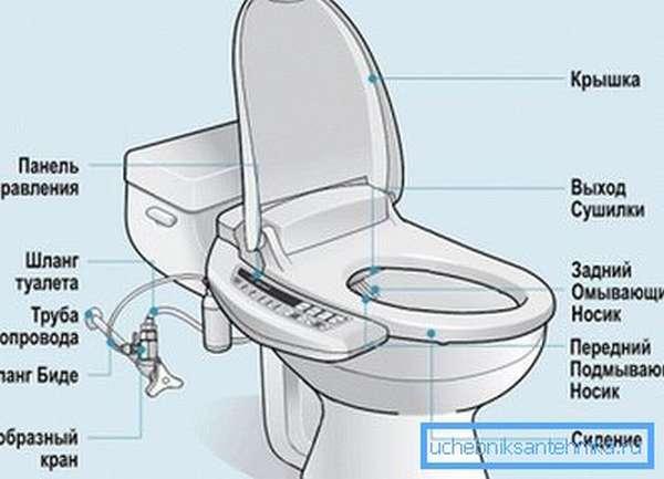 Общая схема оборудованного туалета.