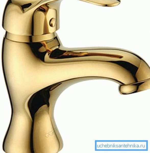 Однорычажный смеситель для раковины - золото