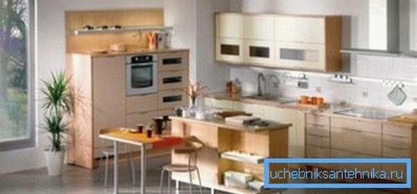 Оформление вентиляционного короба на кухне превосходно вписывается в интерьер