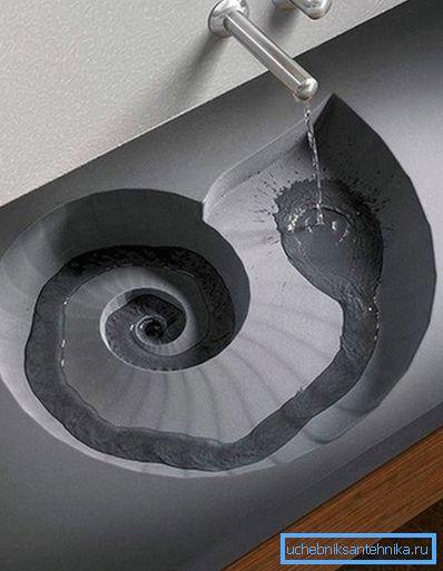 Оригинальная форма канала для слива воды.