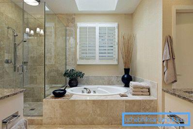 Оригинальный дизайн ванной комнаты с душевой