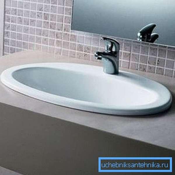 Овальная модель для ванной комнаты
