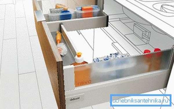 П-образный ящик – пример удачного решения проблемы с помехой в виде дна чаши.