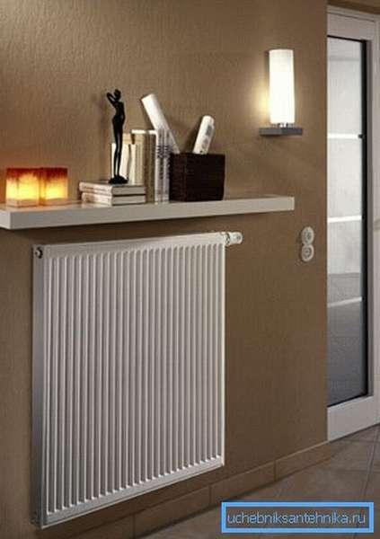 Панельный радиатор в интерьере помещения