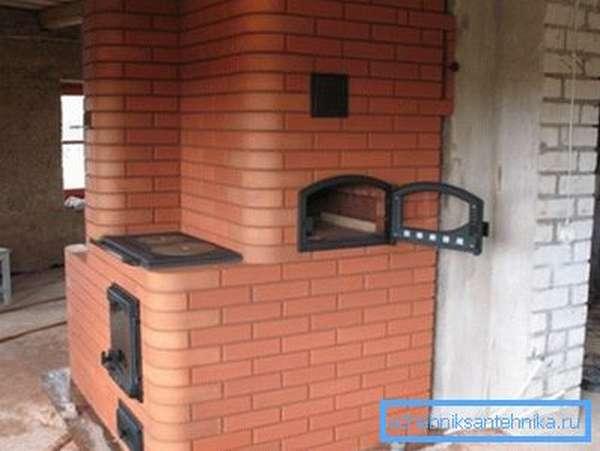 Печь Кузнецова с боковым расположением дверцы духового шкафа