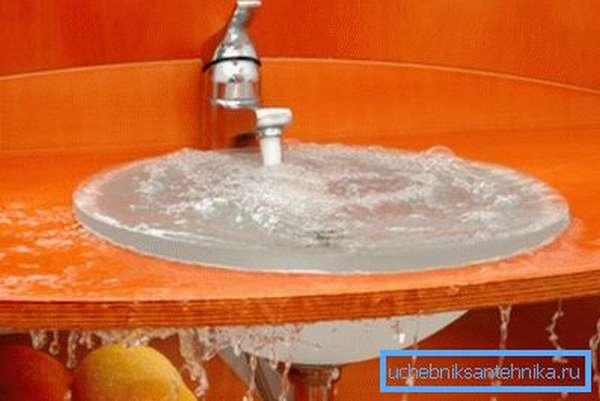 Перелив воды в раковине – первый признак засорившейся канализации.