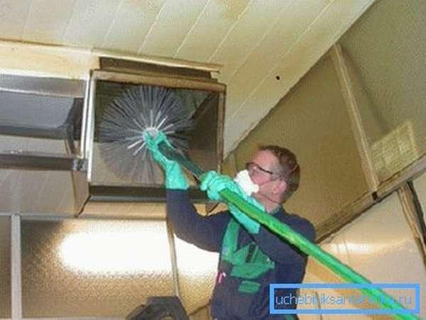Периодическая промывка систем вентиляции вручную