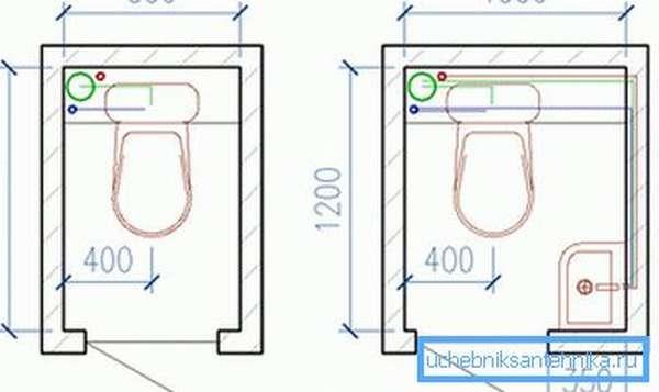 Планировка туалета с раковиной в углу