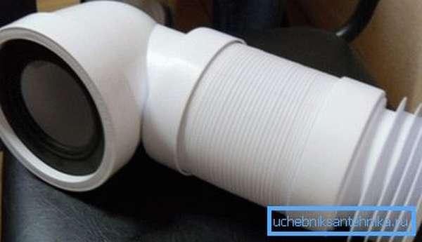 Пластиковое гибридное изделие – отвод + гофра