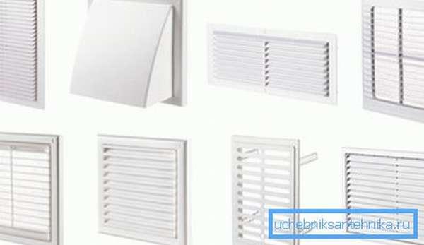 Пластиковые решетки вентиляции