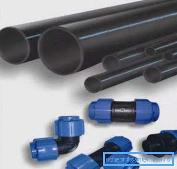 Пластиковые трубы для наружного водопровода.