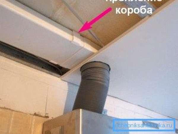 Пластиковый короб спрятан за листами гипсокартона