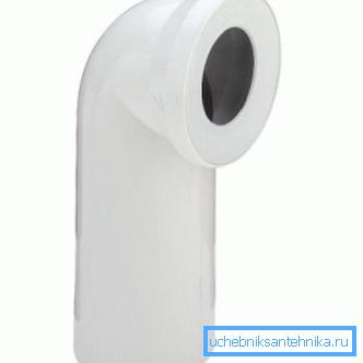 Пластиковый патрубок с углом изгиба в 90 градусов